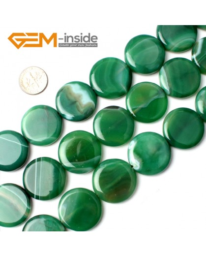 "G0129 25mm Natural Coin Sardonyx Strip Green Agate Gemstone Loose Beads 15 "" Natural Stone Beads for Jewelry Making Wholesale"