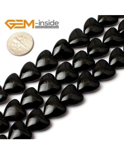 """G0198 14mm Heart Black Agate Gemstone Loose Beads 15"""" Free Shipping Natural Stone Beads for Jewelry Making Wholesale"""