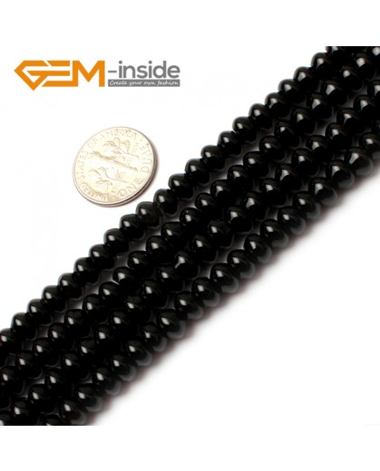 "G0200 4x6mm Rondelle Black Agate Beads Loose Gemstone Beads 15"" Free Shipping Natural Stone Beads for Jewelry Making Wholesale"