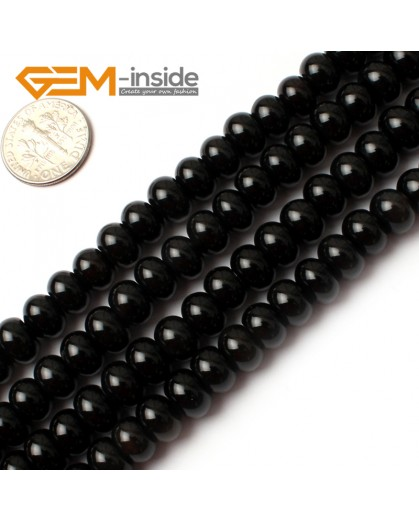 "G0202 5x8mm Rondelle Black Agate Beads Loose Gemstone Beads 15"" Free Shipping Natural Stone Beads for Jewelry Making Wholesale"