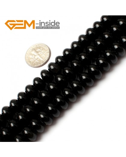"G0203 6x10mm Rondelle Black Agate Beads Loose Gemstone Beads 15"" Free Shipping Natural Stone Beads for Jewelry Making Wholesale"