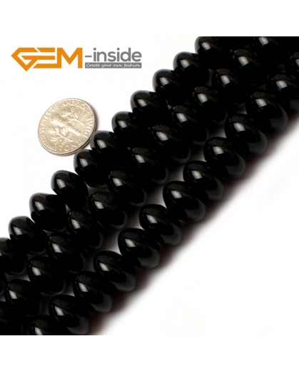 "G0204 8x12mm Rondelle Black Agate Beads Loose Gemstone Beads 15"" Free Shipping Natural Stone Beads for Jewelry Making Wholesale"