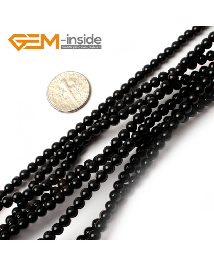 "G0205 4mm natural black agate Round Gemstone Tiny Jewelry Making Loose Spacer Beads Strand 15"" Natural Stone Beads for Jewelry Making Wholesale"