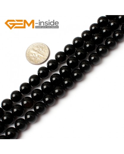 "G0207 8mm Round Gemstone Black Agate Beads Jewelry Making Loose Beads 15""  Free Shipping Natural Stone Beads for Jewelry Making Wholesale"