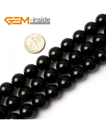 "G0209 12mm Round Gemstone Black Agate Beads Jewelry Making Loose Beads 15""  Free Shipping Natural Stone Beads for Jewelry Making Wholesale"