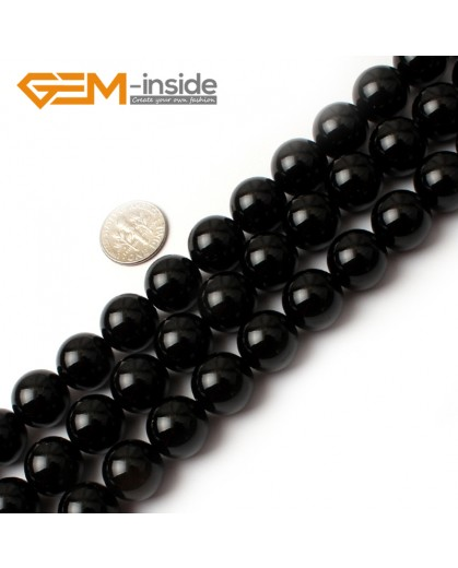 "G0210 14mm Round Gemstone Black Agate Beads Jewelry Making Loose Beads 15""  Free Shipping Natural Stone Beads for Jewelry Making Wholesale"
