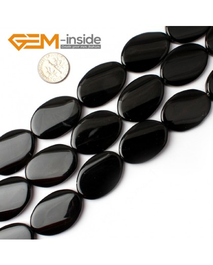 "G0215 20x30mm Natural Oval Twist Black Agate Loose Gemstone Beads15"" Free Shipping Natural Stone Beads for Jewelry Making Wholesale"