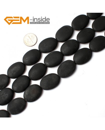 "G0245 18X25mm Oval Matte Brazil Black Agate Beads 15"" Jewelery Making Gemstone Loose Beads Natural Stone Beads for Jewelry Making Wholesale"