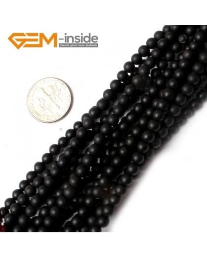 "G0249 4mm natural black agate frosted Round Gemstone Tiny Jewelry Making Loose Spacer Beads Strand 15"" Natural Stone Beads for Jewelry Making Wholesale"