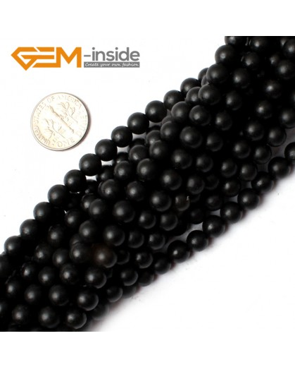 G0250 6mm Round Natural Brazil Balck Agate Onyx Loose Beads Gemstone Strands 15' Natural Stone Beads for Jewelry Making Wholesale