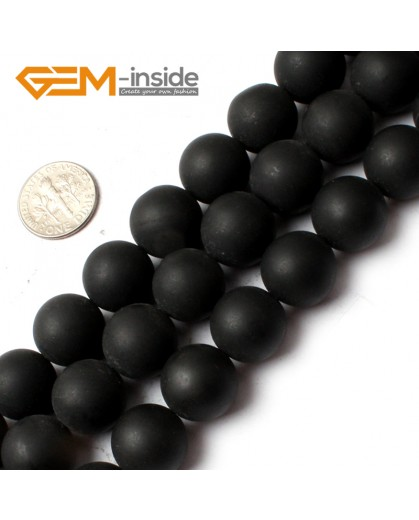 G0254 14mm Round Natural Brazil Balck Agate Onyx Loose Beads Gemstone Strands 15' Natural Stone Beads for Jewelry Making Wholesale