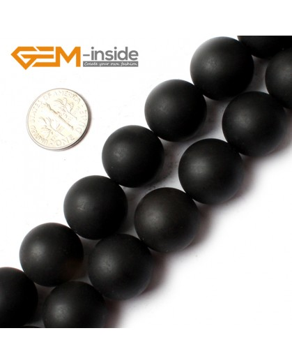 G0255 16mm Round Natural Brazil Balck Agate Onyx Loose Beads Gemstone Strands 15' Natural Stone Beads for Jewelry Making Wholesale
