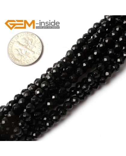 "G0259 4mm Natural Round Faceted Black Agate Gemstone Stone Beads Strand 15"" Natural Stone Beads for Jewelry Making Wholesale"