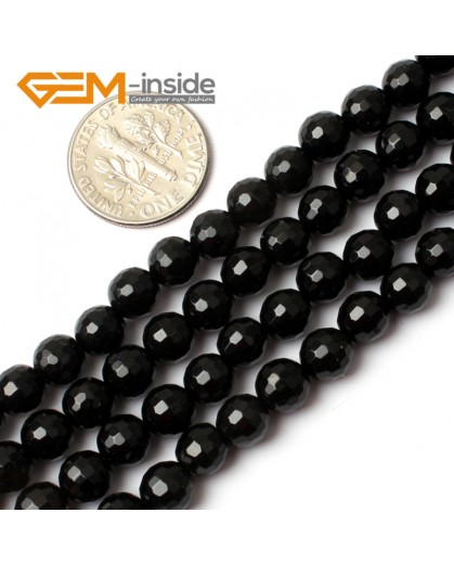 "G0260 6mm Natural Round Faceted Black Agate Gemstone Stone Beads Strand 15"" Natural Stone Beads for Jewelry Making Wholesale"