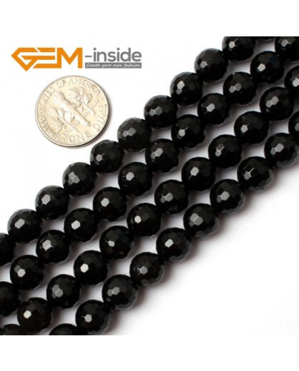 "G0261 8mm Natural Round Faceted Black Agate Gemstone Stone Beads Strand 15"" Natural Stone Beads for Jewelry Making Wholesale"