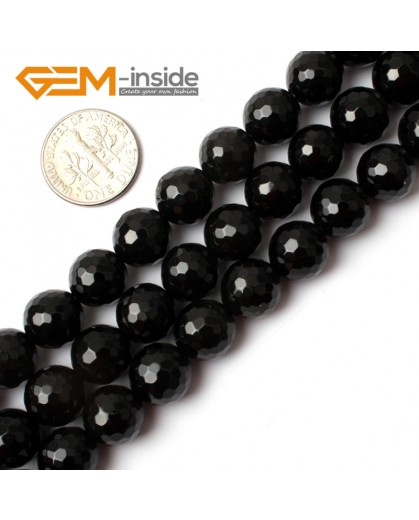 "G0262 10mm Natural Round Faceted Black Agate Stone Gemstone Beads Strand 15"" Natural Stone Beads for Jewelry Making Wholesale"