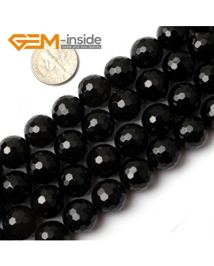 "G0263 12mm Natural Round Faceted Black Agate Gemstone Stone Beads Strand 15"" Natural Stone Beads for Jewelry Making Wholesale"