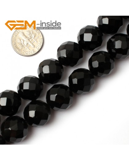 "G0265 14mm Natural Round Faceted Black Agate Gemstone Stone Beads Strand 15"" Natural Stone Beads for Jewelry Making Wholesale"