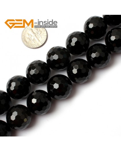 "G0266 16mm Natural Round Faceted Black Agate Gemstone Stone Beads Strand 15"" Natural Stone Beads for Jewelry Making Wholesale"