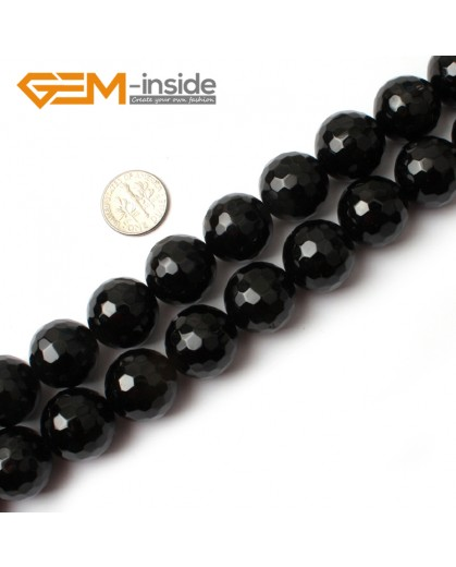 "G0268 18mm Natural Round Faceted Black Agate Stone Beads Strand 15"" Natural Stone Beads for Jewelry Making Wholesale"