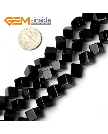 "G0273 8mm Square Cube Black Agate Onyx Gemstone Loose Beads Strand 15"" for Jewelery Making Natural Stone Beads for Jewelry Making Wholesale"