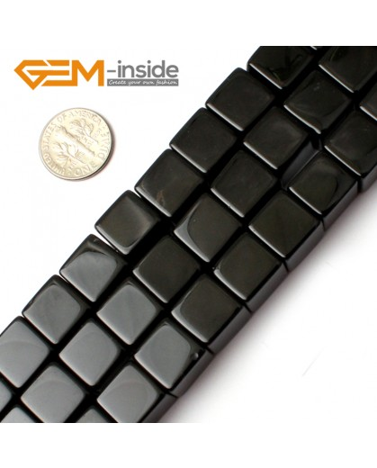 """G0275 12mm Square Cube Black Agate Onyx Gemstone Loose Beads Strand 15"""" for Jewelery Making Natural Stone Beads for Jewelry Making Wholesale"""