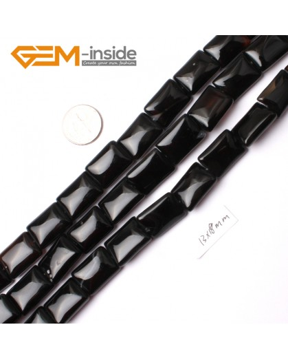 "G0282 13x18mm Rectangle Natural Black Agate Stone Beads Strand 15"" Natural Stone Beads for Jewelry Making Wholesale"