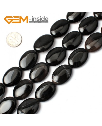 """G0300 18x25mm Natural Oval Black Agate Onyx Gemstone Loose Beads 15"""" Jewelry Making Beads Natural Stone Beads for Jewelry Making Wholesale"""