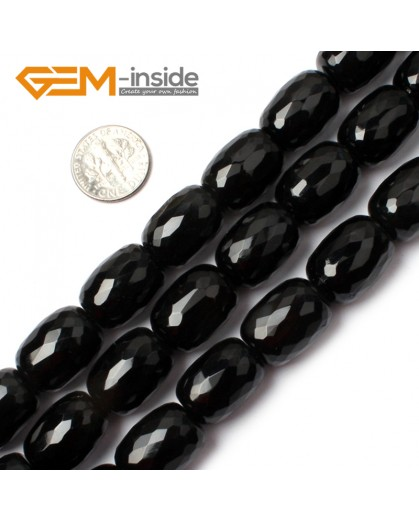 "G0314 Faceted Natural Column Black Agate Loose Beads Gemtone 15"" Size 13x18mm Natural Stone Beads for Jewelry Making Wholesale"