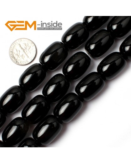 """G0319 Smooth Natural Column Black Agate Loose Beads Gemtone 15"""" Size 13x18mm Natural Stone Beads for Jewelry Making Wholesale"""