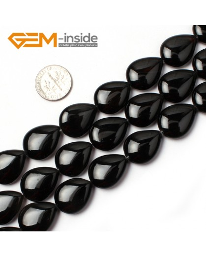 "G0324 15x20mm Drop Gemstone Natural Black Agate Stone Beads Strand 15"" Free Shipping Natural Stone Beads for Jewelry Making Wholesale"
