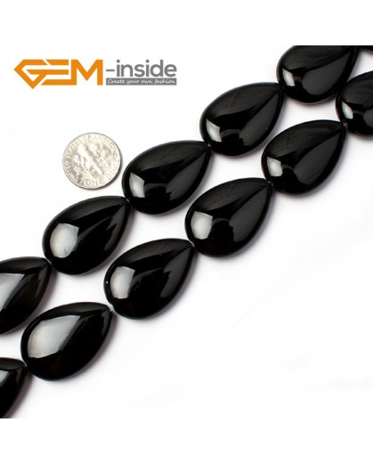 "G0325 20x30mm Drop Gemstone Natural Black Agate Stone Beads Strand 15"" Free Shipping Natural Stone Beads for Jewelry Making Wholesale"