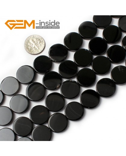 "G0327 16mm Coin Natural Black Agate Stone Gemstone Loose Beads Strand 15"" Natural Stone Beads for Jewelry Making Wholesale"