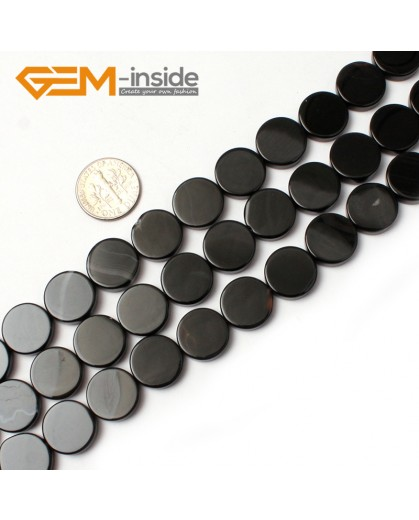"G0328 14mm Coin Natural Black Agate Stone Gemstone Loose Beads Strand 15"" Natural Stone Beads for Jewelry Making Wholesale"