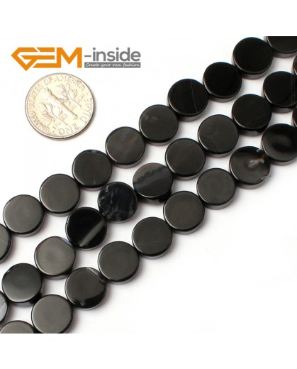 "G0330 10mm Coin Natural Black Agate Stone Gemstone Loose Beads Strand 15"" Natural Stone Beads for Jewelry Making Wholesale"
