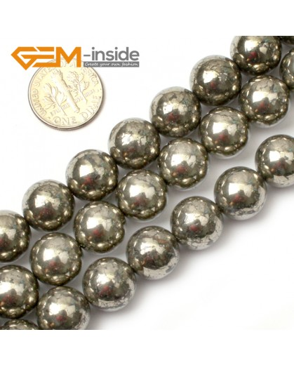 "G0380 12mm Round Gemstone Silver Gray Natural Pyrite Stone Loose Beads Strand 15"" Free Shipping Natural Stone Beads for Jewelry Making Wholesale"