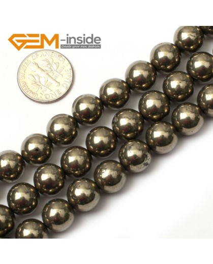 "G0381 10mm Round Gemstone Natural Silver Gray Pyrite Stone Loose Beads Strand 15"" Free Shipping Natural Stone Beads for Jewelry Making Wholesale"