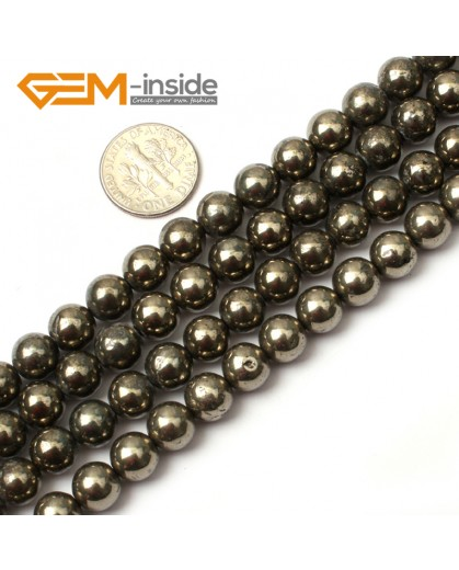 "G0382 8mm Round Gemstone Natural Silver Gray Pyrite Stone Loose Beads Strand 15"" Free Shipping Natural Stone Beads for Jewelry Making Wholesale"