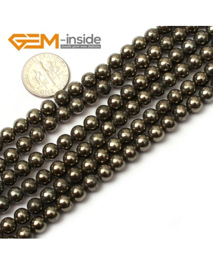 "G0383 6mm Round Gemstone Natural Silver Gray Pyrite Stone Loose Beads Strand 15"" Free Shipping Natural Stone Beads for Jewelry Making Wholesale"