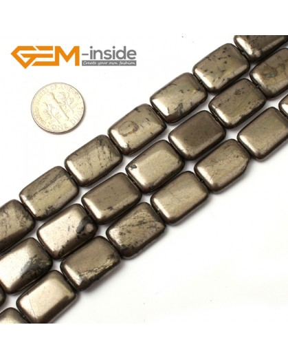 "G0384 13x18mm Rectangle Silver Gray Pyrite Stone Loose Beads Strand 15"" Free Shipping Natural Stone Beads for Jewelry Making Wholesale"
