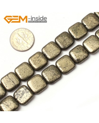 "G0388 12mm square Gemstone Silver Gray Pyrite Stone Beads Strand 15"" Free Shipping Natural Stone Beads for Jewelry Making Wholesale"