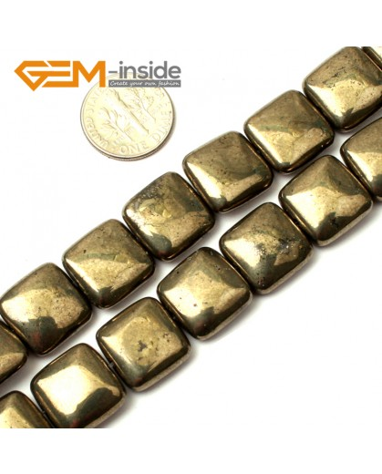 "G0389 14mm square Gemstone Silver Gray Pyrite Stone Beads Strand 15"" Free Shipping Natural Stone Beads for Jewelry Making Wholesale"
