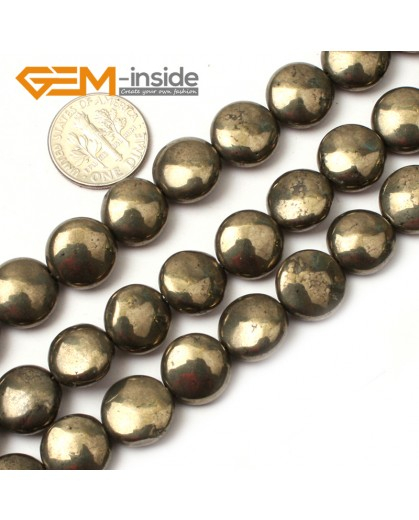 "G0391 12mm Coin Gemstone Silver Gray Pyrite Stone Beads 15"" Free Shipping Natural Stone Beads for Jewelry Making Wholesale"