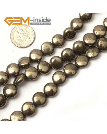 "G0392 10mm Coin Gemstone Silver Gray Pyrite Stone Beads Strand 15"" Free Shipping Natural Stone Beads for Jewelry Making Wholesale"