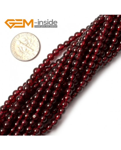 "G0403 4mm Natural Red Garnet Round Gemstone Tiny Jewelry Making Loose Spacer Beads Strand 15"" Natural Stone Beads for Jewelry Making Wholesale"