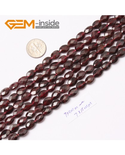 "G0433 7x10mm Oval Faceted Gemstone Red Garnet Beads Loose Beads Strand 15"" Free Shipping Natural Stone Beads for Jewelry Making Wholesale"