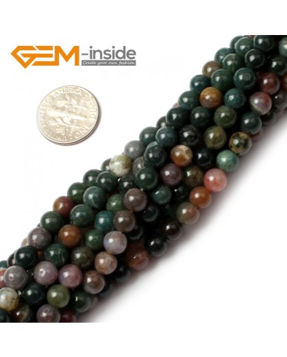 "G0526 4mm Natural Indian Agate Round Gemstone Tiny Jewelry Making Loose Spacer Beads Strand 15"" Natural Stone Beads for Jewelry Making Wholesale"