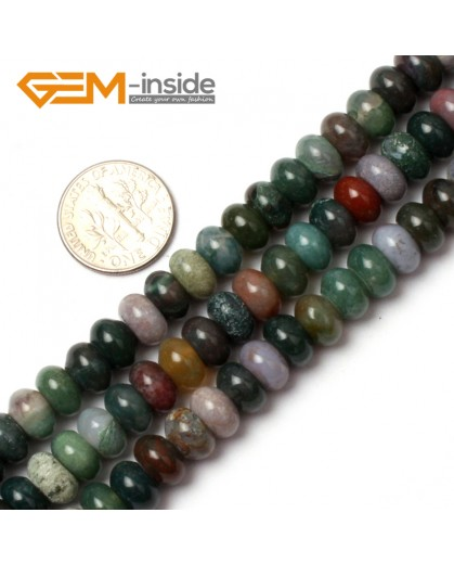 "G0555 5x8mm Natural Roundel Rondelle Indian Agate Stone Beads Strand 15"" Free Shipping Natural Stone Beads for Jewelry Making Wholesale"