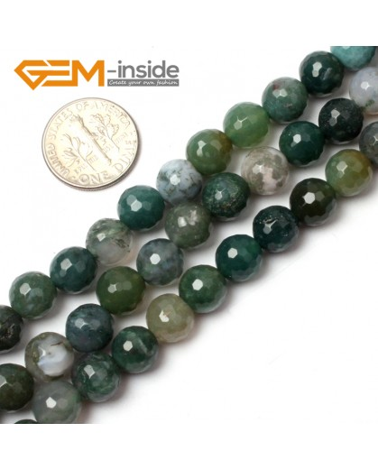 "G0558 8mm Natural Round Faceted Green Moss Agate Stoen DIY Jewelry Making Beads Strand 15"" Natural Stone Beads for Jewelry Making Wholesale"