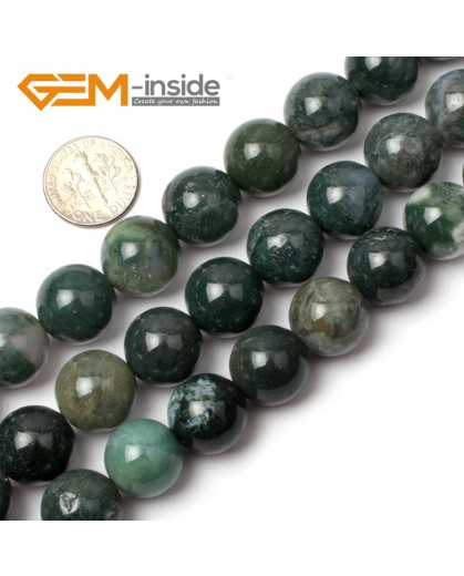 "G0559 14mm Natural Green Round Moss Agate tree agate Beads strand 15"" Natural Stone Beads for Jewelry Making Wholesale"